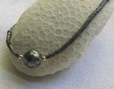 """Carved Tahitian Pearl & Hematite Necklace 16"""" 14k Solid Yellow Gold"""