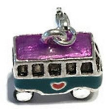 LOVELY SILVER & MULTI COLOURS VW LITTLE VAN  3D  CLIP ON  CHARM FOR BRACELETS