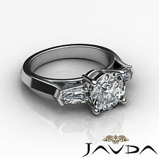 GIA Certified Round Cut Diamond Engagement 3 Stone Ring F SI1 Platinum 1.5ct