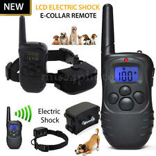 Ricaricabile LCD Elettrico Collare Antiabbaio 2 Cani Addestramento Anti-Barking