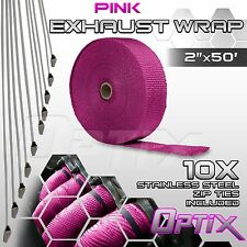 "2"" x 50FT Manifold Header Exhaust Thermal Heat Tape Wrap + Ties - Pink (R)"