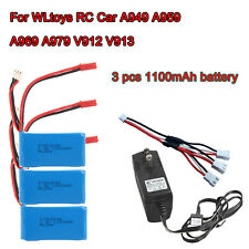 3x 1100mAh Battery+AC Charger+Cable For WLtoys RC Car A949 A959 A979 V912 V913