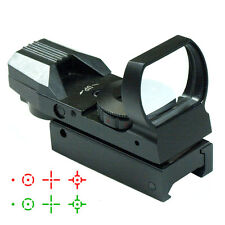 Red / Green Dot Tactical Reflex Holographic Sight Scope w/ 4 Reticles Rail Mount