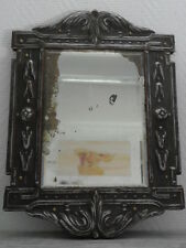 Primitive mirror antique iron Art holder wood Looking Glass Mirror old 1800s