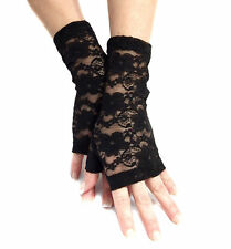 SEXY BLACK STRETCHY LACE FINGERLESS GLOVES MF4062