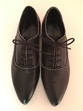 ALL SAINTS,BLACK KEIKO STUD OXFORD FLATS-SHOES, size UK6,pack in Box