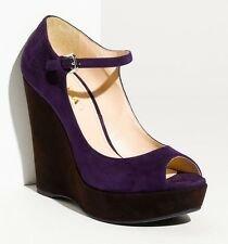 $895 Prada suede wedge Pumps Platform mary jane sandal heels 38.5