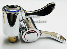 "REPLACEMENT HOT & COLD LEVER 1/4"" TURN MODERN TAP TOP HEAD COVERS CHROME PLATED"