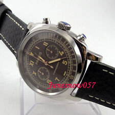 Parnis 44mm coffee dial luminous Full chronograph 5ATM quartz Mens watch 578