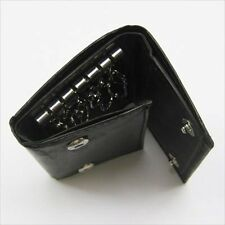 BLACK MEN'S LEATHER MENS KEY Chain Holder Case Wallet 5 Ring Loop Deluxe Cash