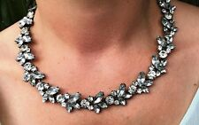 Crystal Leaf Luxe Jewel Gemstone Statement Necklace- Bridal