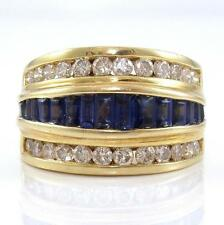 14K Yellow Gold Natural Blue Sapphire Diamond Wide Band Ring Size 7.5