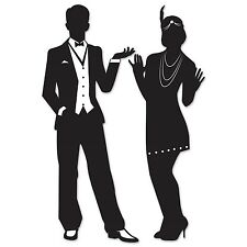 Pack of 2 Great 20's Silhouettes - Party Decorations - 1920's Cutouts