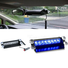 8 LED Car Truck Dash Strobe Flash Light Emergency Police Warning 3 Modes Blue