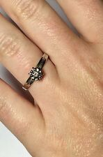 ANTIQUE 14K SOLID WHITE GOLD LOVELY FLOWER LADIES DIAMOND ENGAGEMENT RING SZ 6.5