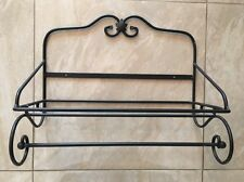Longaberger Wrought Iron Wall Shelf Rack With Removable Towel Bar