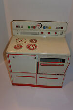 VINTAGE 1950s WOLVERINE TIN TOY LITHO KITCHEN STOVE! 2 DOORS! PLAY SWITCHES! USA