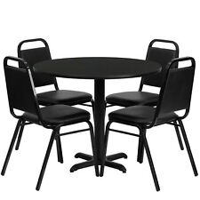 "Restaurant Table Chairs 36"" Black Laminate with 4 Trapezoidal Back Banquet Chair"