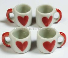 4 Dollhouse Miniature Heart Ceramic Mugs*Doll Mini Cups Mug Set Drink Tea Coffee