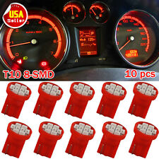 10X Red T10 Wedge W5W 158 168 192 921 8-SMD LED Dashboard Gauge Instrument Light