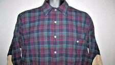Men's PENDLETON Shirt size Medium 100% Virgin Wool Plaid Button Retro Hippie