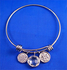 """STAINLESS STEEL GOLD TONE ANGEL, CZ DISC, CLEAR CRYSTAL CHARMS BANGLE, 7"""""""