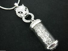 JAGUAR Crystal Filled Glass Jar Pendant Women Sweater Necklace Silver Plated