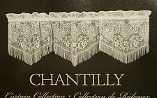 "NEW Heritage CHANTILLY LACE Fringed VALANCE  60"" wide x 16"" long White"