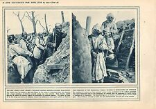 1915 WWI PRINT ~ FRENCH STEEL HELMET SOLDIERS ~ RESPIRATORS & OVERALLS