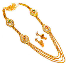 Necklace One Two Gram Gold Plated Kundan Pearl Polki Cz Ad Jade Jewelry Set 7293