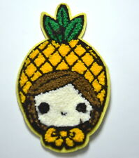 GIRL PINEAPPLE HEAD HAT Embroidered Sew On Cloth Patch Badge APPLIQUE