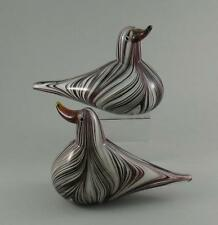 Pair Large Vintage Murano Sommerso Striped Cased Glass Bird Duck Sculptures 21cm