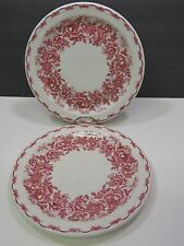 2 Dinner Plates Morris Gordon & Son Boston Ma McNicol China Diner Restaurant Red