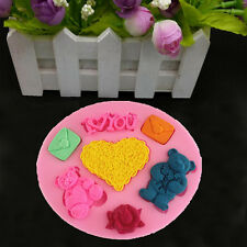 I Love You Bear Heart Silicone Cake Topper Chocolate Mould Craft Fondant Tools