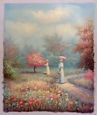Hand Painted Oil Painting on Canvas Women Walking On Field Landscape