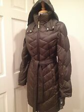 Ellen Tracy Ultra Lightweight Long Jacket Coat Puffer Packable Down Olive M $230