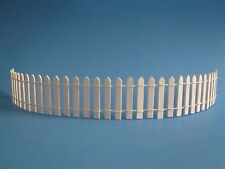 "MINIATURE  WHITE WOOD  PICKET FENCE 2"" x 18"" LONG ~ FAIRY GARDEN"