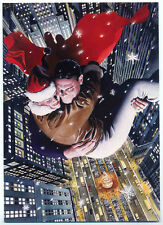 SUPERMAN & LOIS LANE REPRO CHRISTMAS CARD . ILLUSTRATED BY ALEX ROSS . DC COMICS