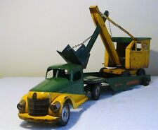 Buddy L Highway Maintenance IH 'D' Cab TT Truck w/ Steam Shovel Set 50's V RARE