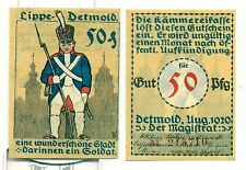 OLD GERMANY EMERGENCY PAPER MONEY - NOTGELD Detmold 1920