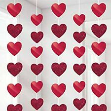Pack of 6 Valentines Red Candy Hearts String Decoration Party Celebration