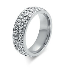 316L Stainless Steel Ring Silver 3Row CZ Inlay Engagement Wedding SZ 7-12 Xmas