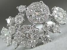 MODERN PAVE DIAMOND 18K WHITE GOLD WIDE FLOWER CLUSTER BAND COCKTAIL RING R15481