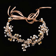 Bridal Rhinestone Head Chain Wedding Jewelry Headband Head Piece Hair band Gold