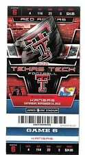 2012 TEXAS TECH RED RAIDERS VS KANSAS JAYHAWKS FOOTBALL TICKET STUB 11/10