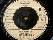 "SANDY MCLELLAND & THE BACKLINE - LIKE A HURRICANE  7"" VINYL"