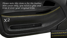 YELLOW STITCH 2X FRONT DOOR CARD TRIM SKIN COVERS FITS HONDA CIVIC COUPE 92-95