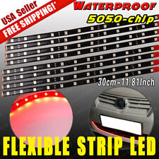 8pcs Pure Red 30CM/12 LED Car Motors Truck Flexible Strip Light Waterproof 12V