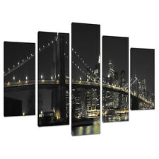 Set of 5 Panel New York Canvas Wall Art Pictures Bridges Cities 5075