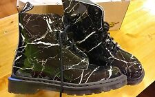 Dr. Doc Martens Pascal Boots Patent Marble Black Leather NEW NIB 10L 8M 42EU